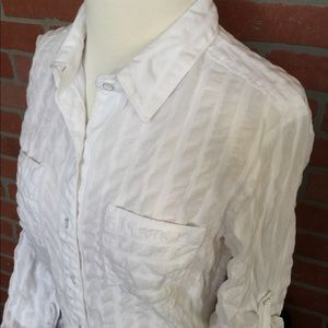 Athleta semi sheer white blouse size Small (3Z2)